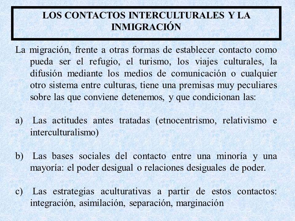 LOS CONTACTOS INTERCULTURALES Y LA INMIGRACIÓN