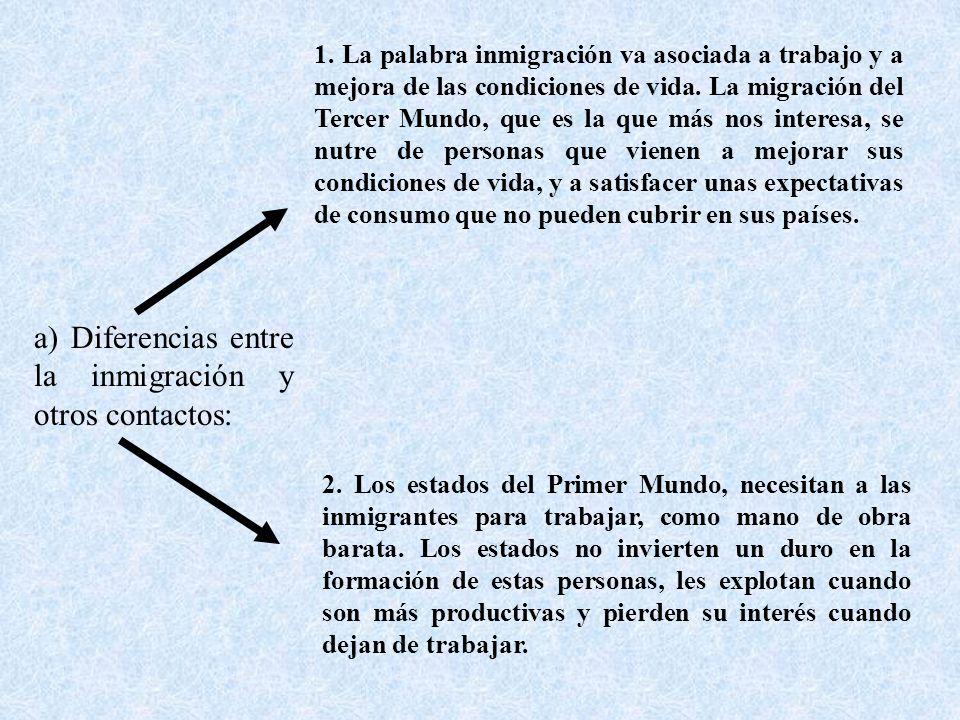 a) Diferencias entre la inmigración y otros contactos:
