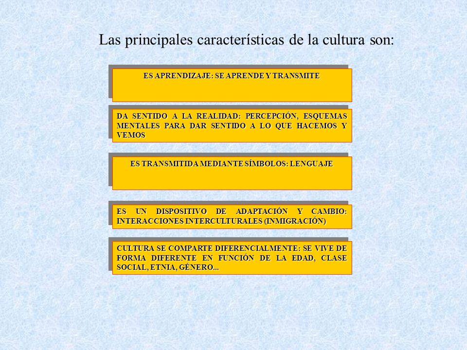 Las principales características de la cultura son: