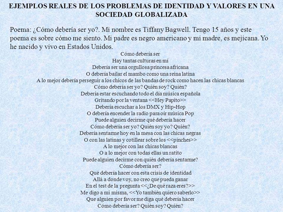 EJEMPLOS REALES DE LOS PROBLEMAS DE IDENTIDAD Y VALORES EN UNA SOCIEDAD GLOBALIZADA