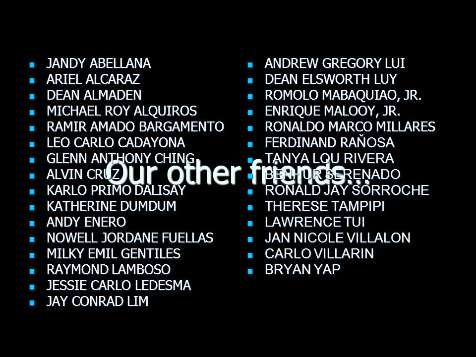 Our other friends… JANDY ABELLANA ARIEL ALCARAZ DEAN ALMADEN