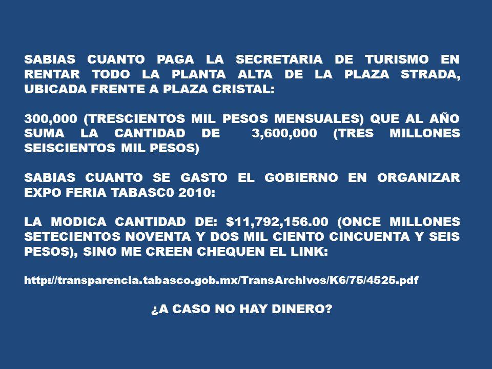 SABIAS CUANTO PAGA LA SECRETARIA DE TURISMO EN RENTAR TODO LA PLANTA ALTA DE LA PLAZA STRADA, UBICADA FRENTE A PLAZA CRISTAL: