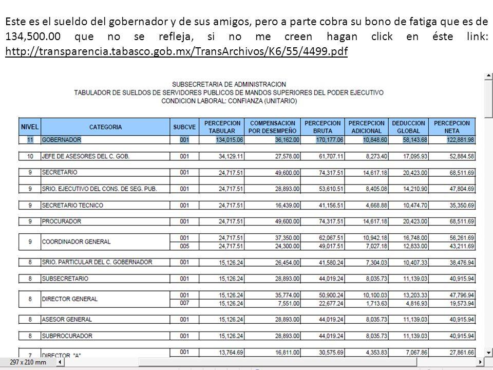 Este es el sueldo del gobernador y de sus amigos, pero a parte cobra su bono de fatiga que es de 134,500.00 que no se refleja, si no me creen hagan click en éste link: http://transparencia.tabasco.gob.mx/TransArchivos/K6/55/4499.pdf