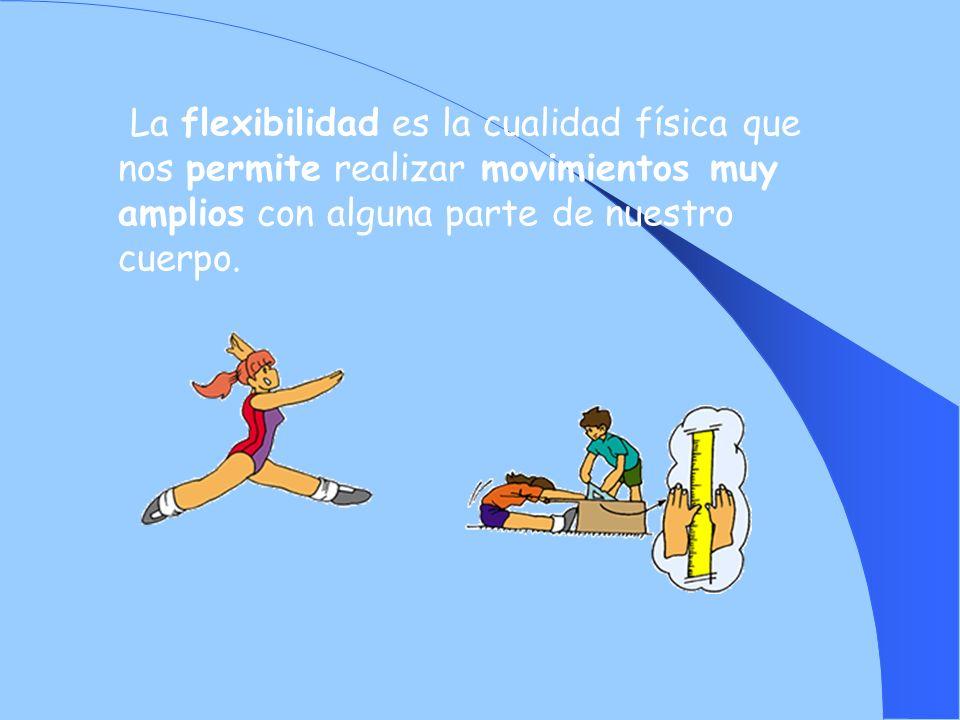 La flexibilidad es la cualidad física que nos permite realizar movimientos muy amplios con alguna parte de nuestro cuerpo.
