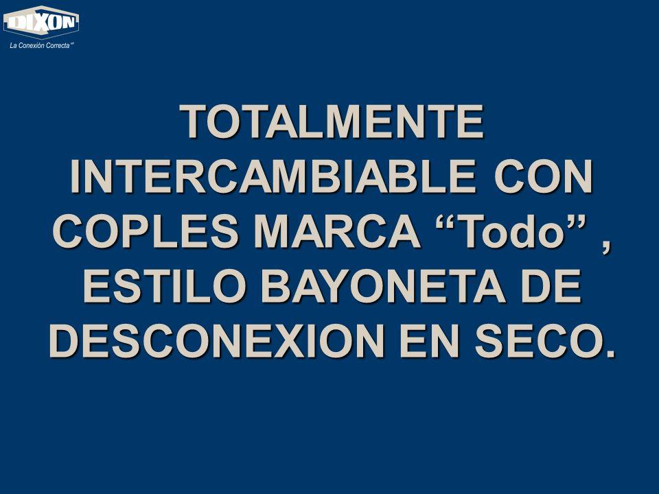 TOTALMENTE INTERCAMBIABLE CON COPLES MARCA Todo , ESTILO BAYONETA DE DESCONEXION EN SECO.