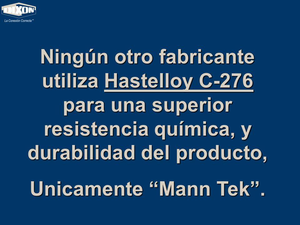Ningún otro fabricante utiliza Hastelloy C-276 para una superior resistencia química, y durabilidad del producto,