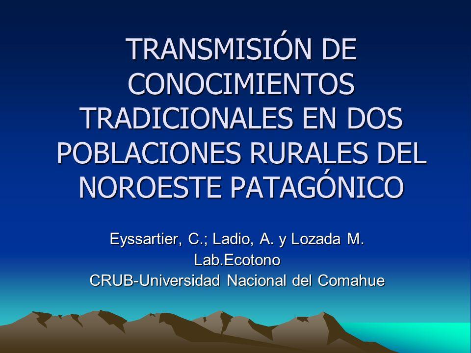TRANSMISIÓN DE CONOCIMIENTOS TRADICIONALES EN DOS POBLACIONES RURALES DEL NOROESTE PATAGÓNICO