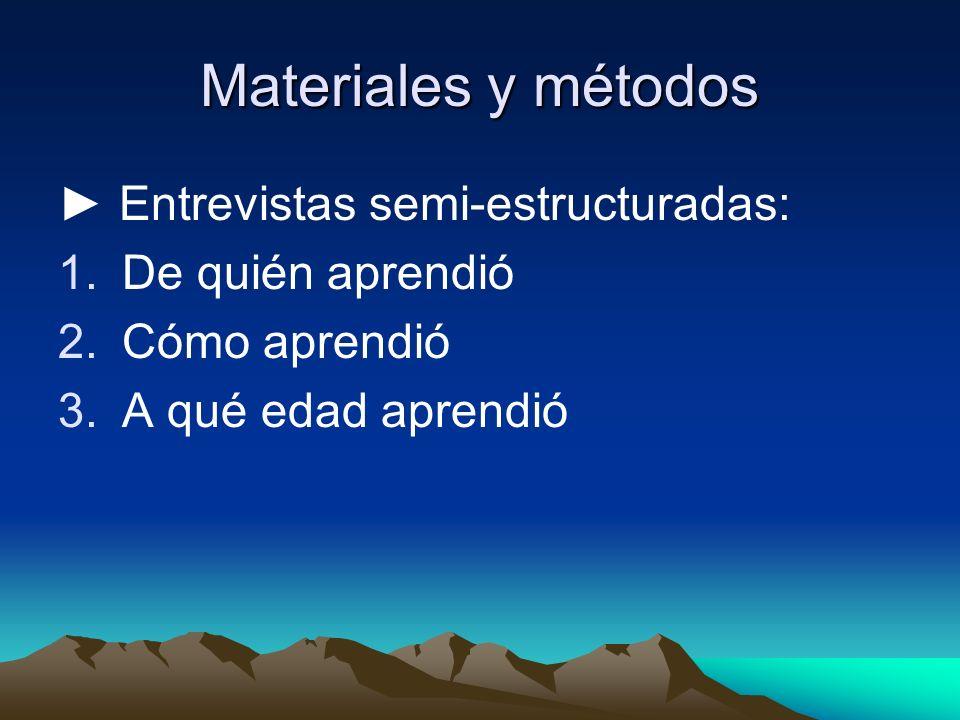Materiales y métodos ► Entrevistas semi-estructuradas: