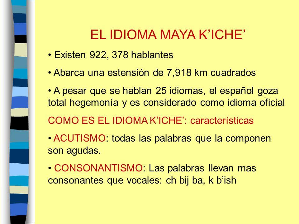 EL IDIOMA MAYA K'ICHE' Existen 922, 378 hablantes