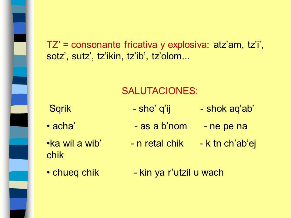 TZ' = consonante fricativa y explosiva: atz'am, tz'i', sotz', sutz', tz'ikin, tz'ib', tz'olom...