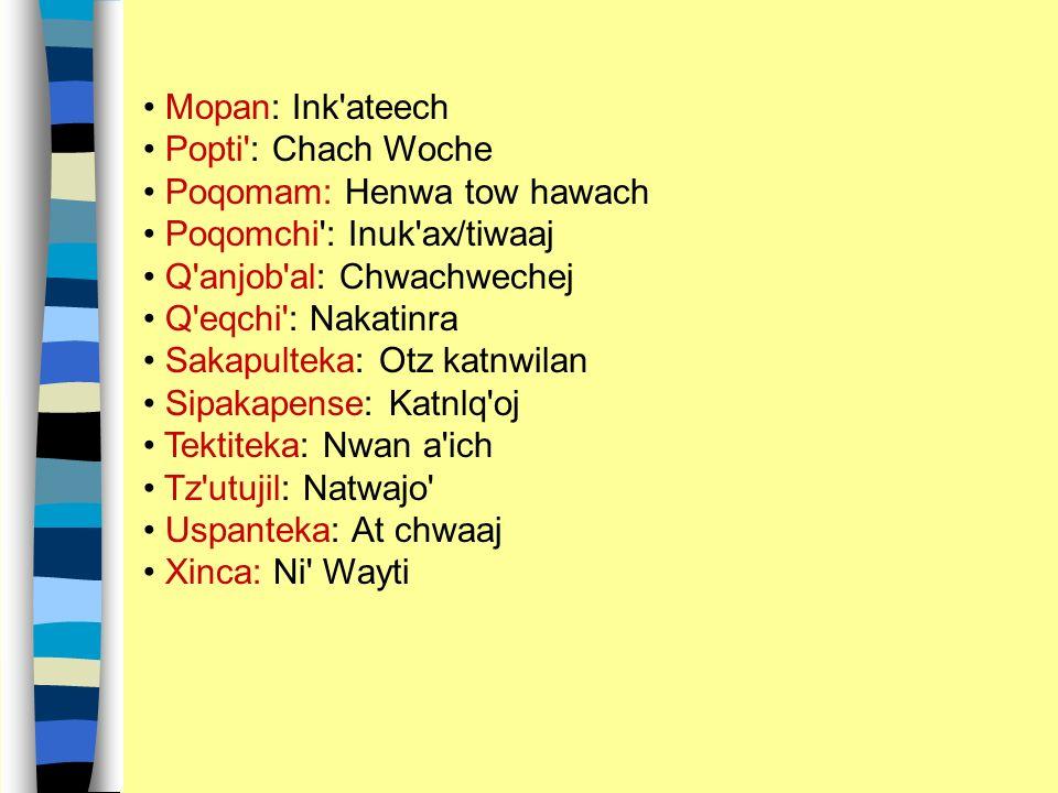 Mopan: Ink ateech Popti : Chach Woche. Poqomam: Henwa tow hawach. Poqomchi : Inuk ax/tiwaaj. Q anjob al: Chwachwechej.