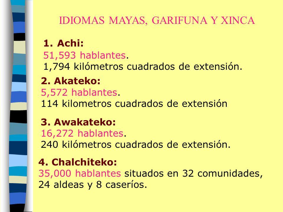 IDIOMAS MAYAS, GARIFUNA Y XINCA