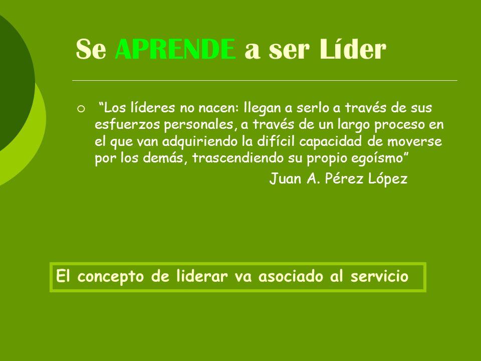 Se APRENDE a ser Líder El concepto de liderar va asociado al servicio