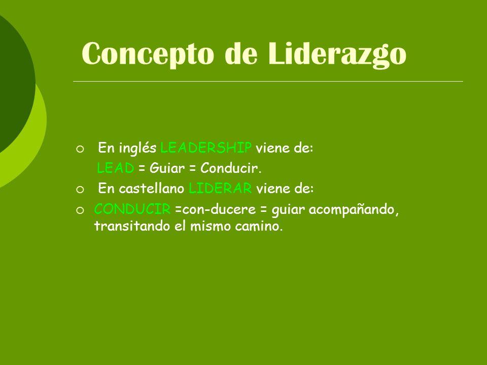 Concepto de Liderazgo En inglés LEADERSHIP viene de: