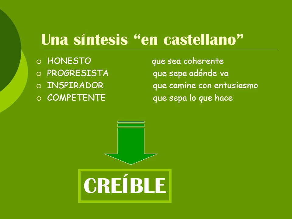 Una síntesis en castellano
