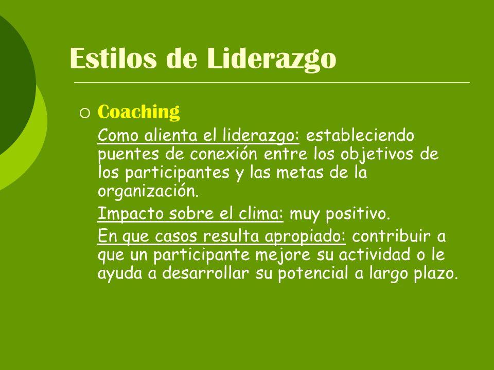 Estilos de Liderazgo Coaching