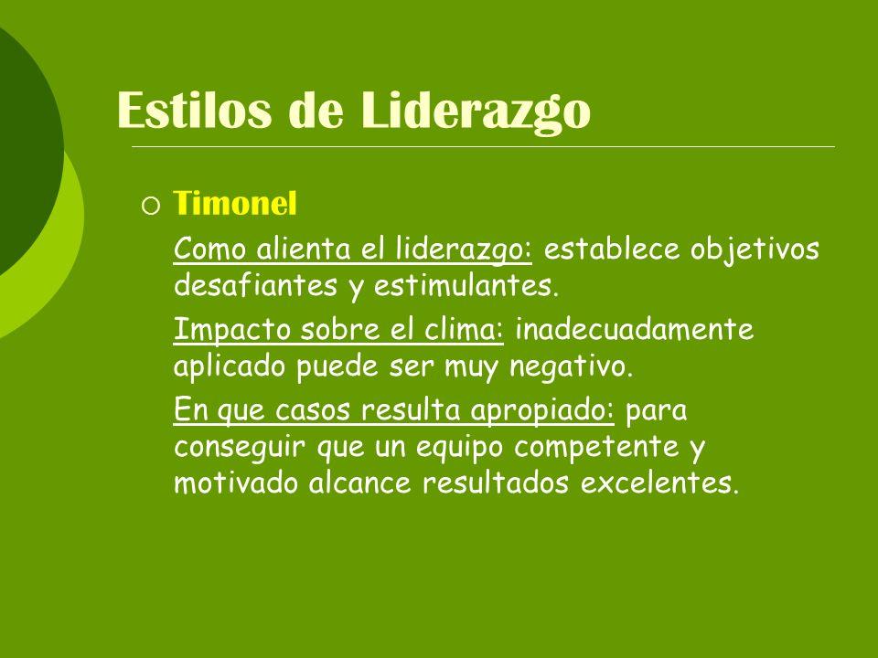 Estilos de Liderazgo Timonel