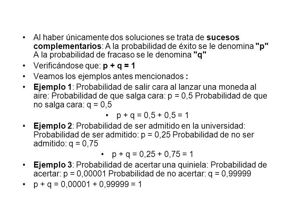 Al haber únicamente dos soluciones se trata de sucesos complementarios: A la probabilidad de éxito se le denomina p A la probabilidad de fracaso se le denomina q
