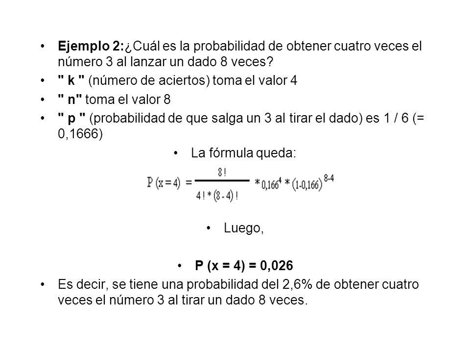 Ejemplo 2:¿Cuál es la probabilidad de obtener cuatro veces el número 3 al lanzar un dado 8 veces