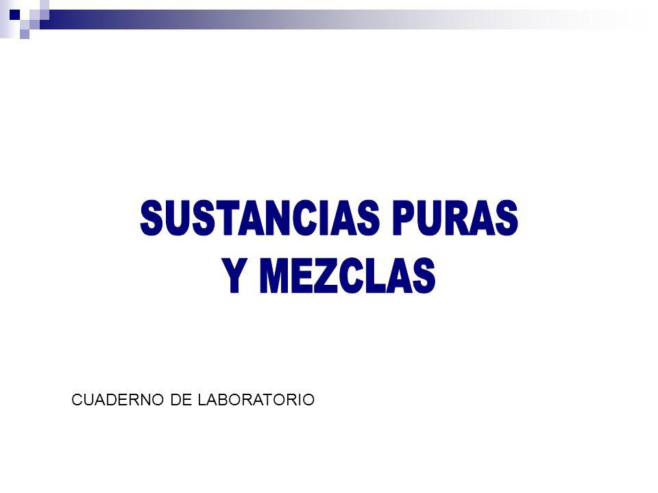 SUSTANCIAS PURAS Y MEZCLAS CUADERNO DE LABORATORIO