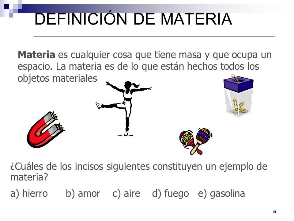 DEFINICIÓN DE MATERIA