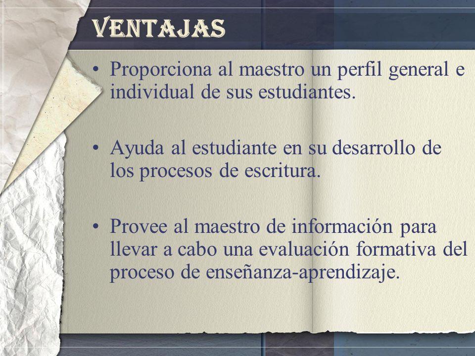 Ventajas Proporciona al maestro un perfil general e individual de sus estudiantes.