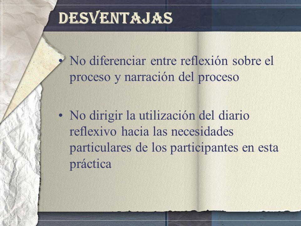 Desventajas No diferenciar entre reflexión sobre el proceso y narración del proceso.