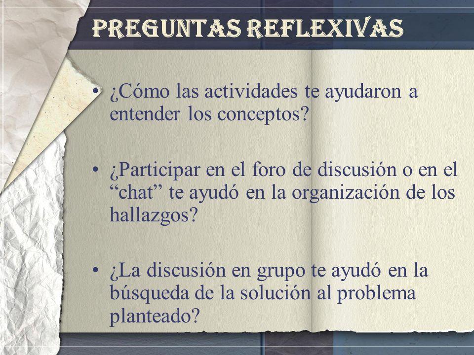 Preguntas Reflexivas ¿Cómo las actividades te ayudaron a entender los conceptos