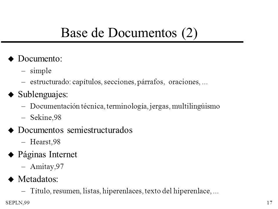 Base de Documentos (2) Documento: Sublenguajes: