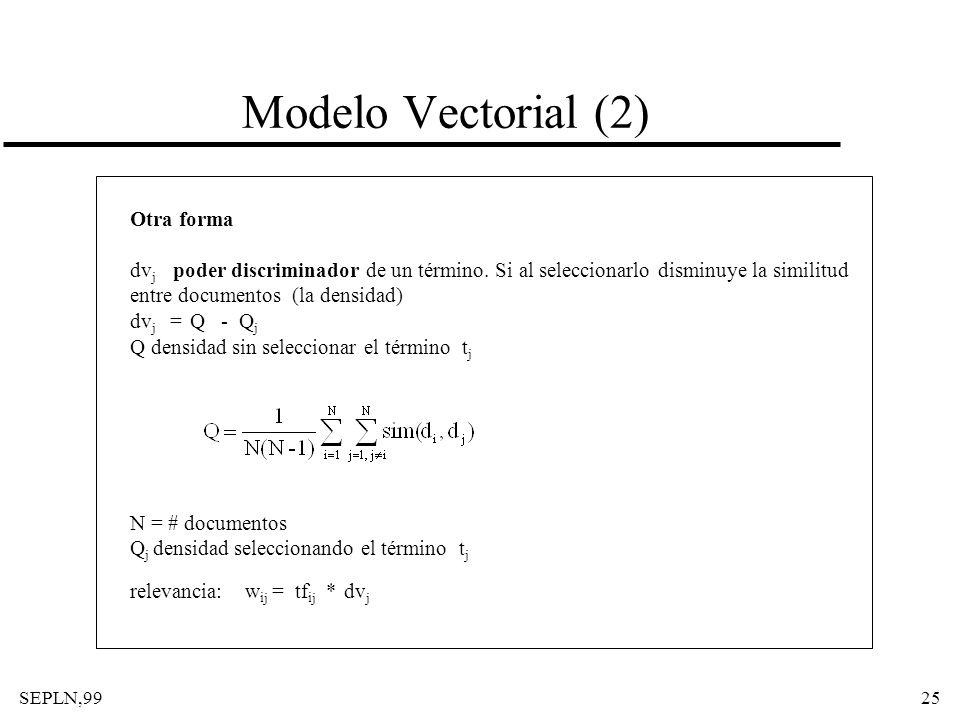 Modelo Vectorial (2) Otra forma