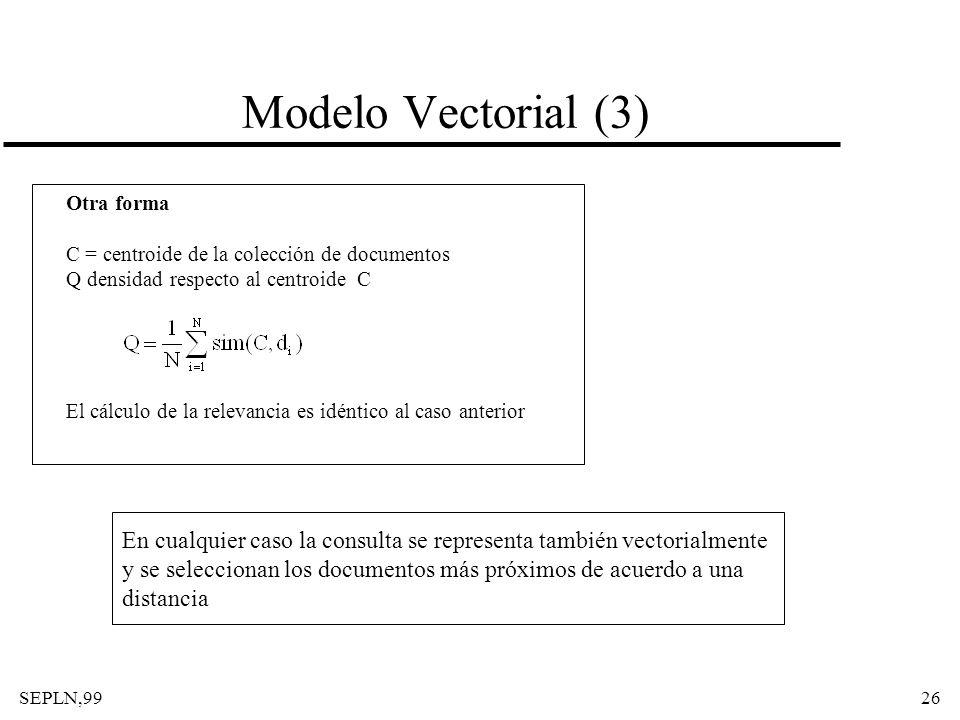 Modelo Vectorial (3) Otra forma. C = centroide de la colección de documentos. Q densidad respecto al centroide C.