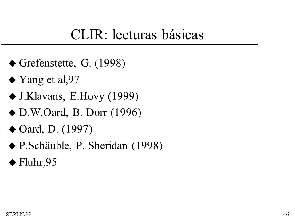 CLIR: lecturas básicas