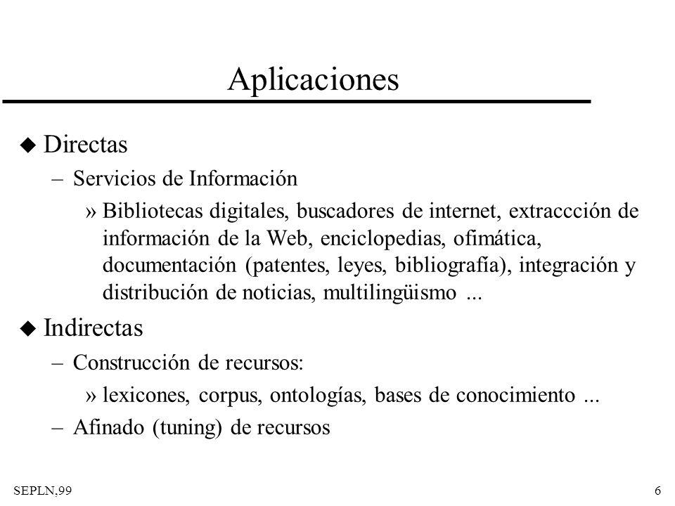 Aplicaciones Directas Indirectas Servicios de Información