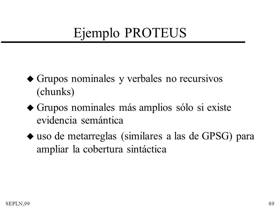 Ejemplo PROTEUS Grupos nominales y verbales no recursivos (chunks)