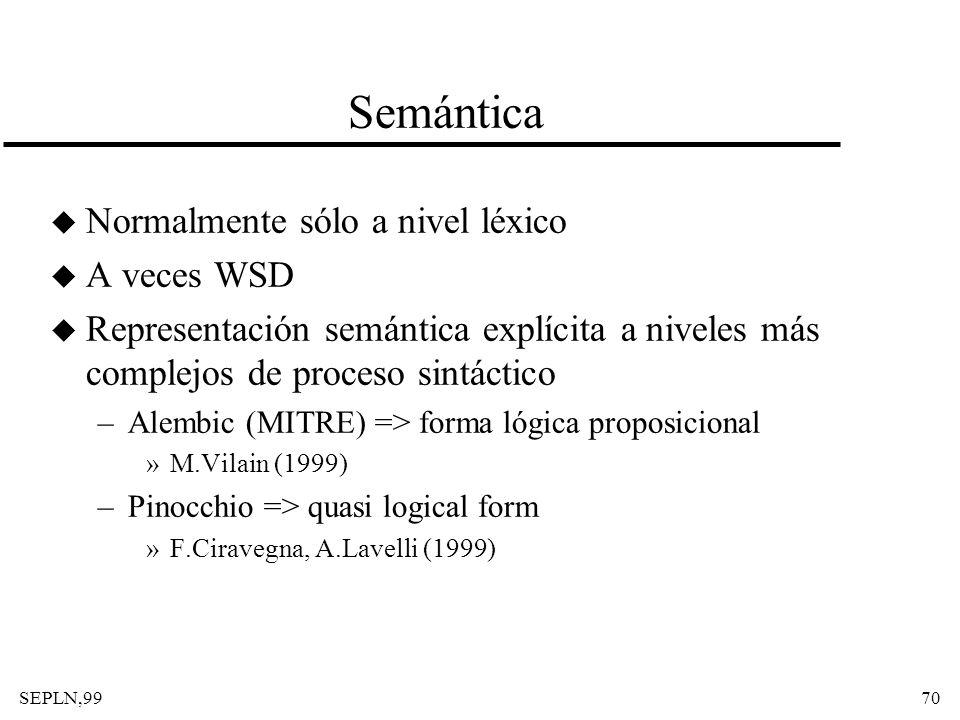 Semántica Normalmente sólo a nivel léxico A veces WSD