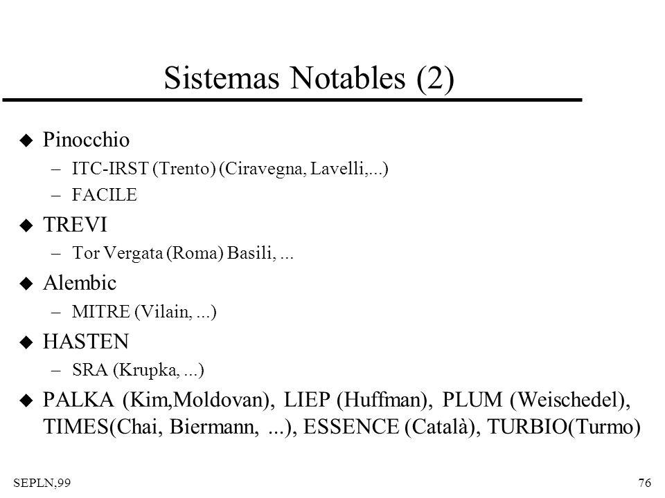 Sistemas Notables (2) Pinocchio TREVI Alembic HASTEN