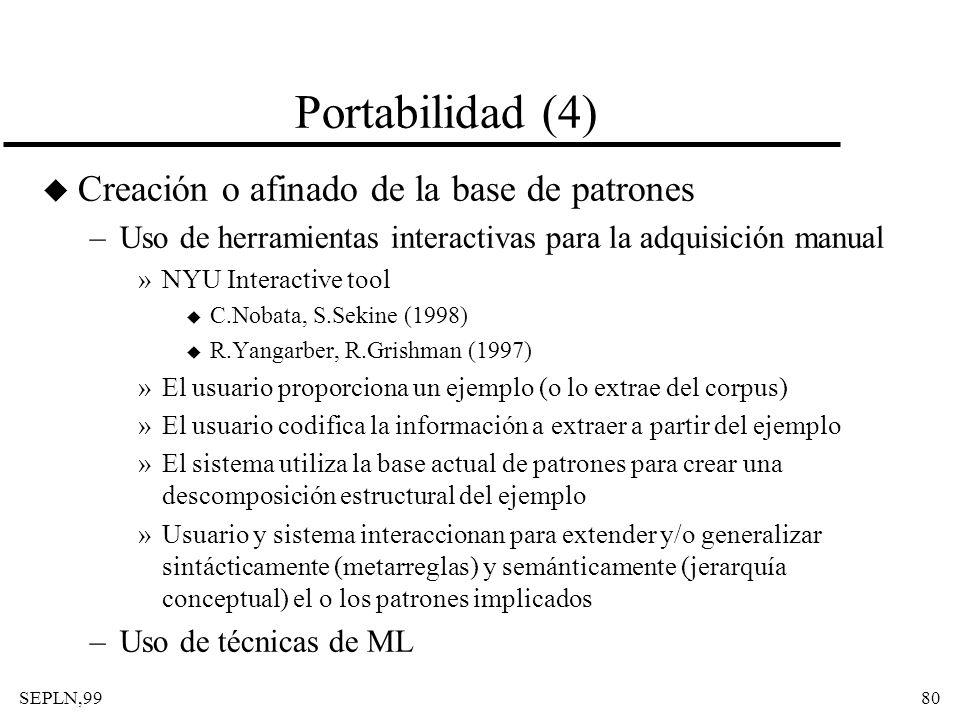Portabilidad (4) Creación o afinado de la base de patrones