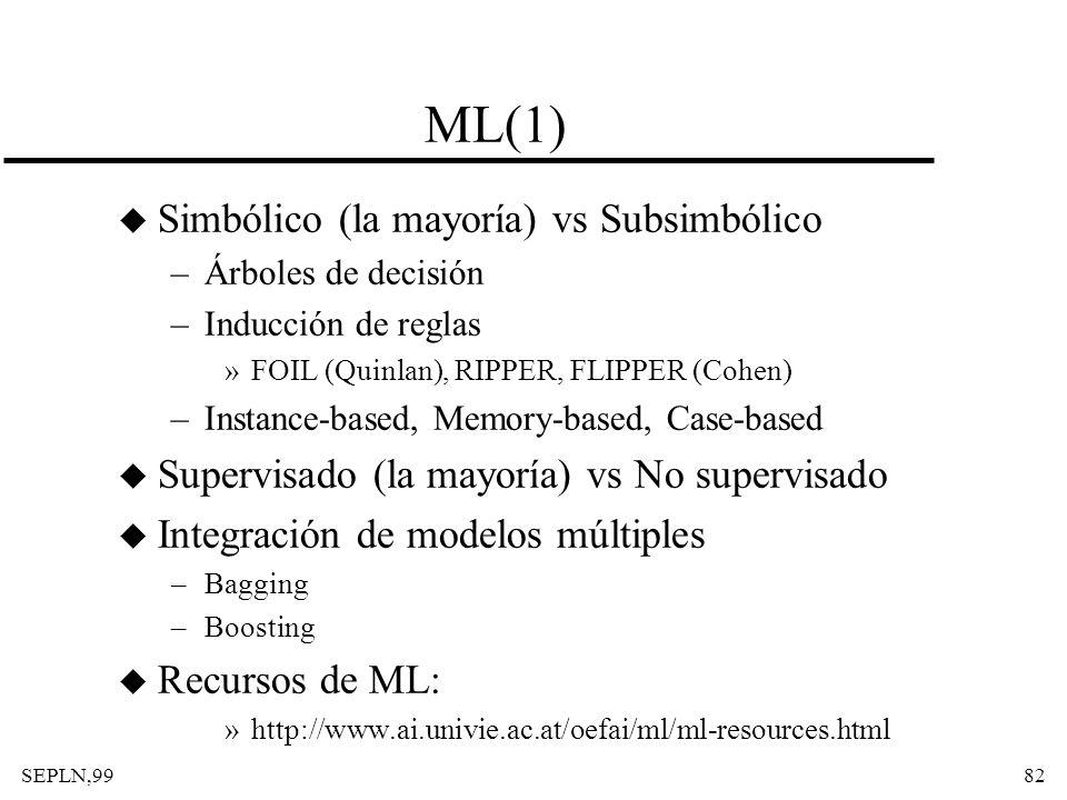 ML(1) Simbólico (la mayoría) vs Subsimbólico