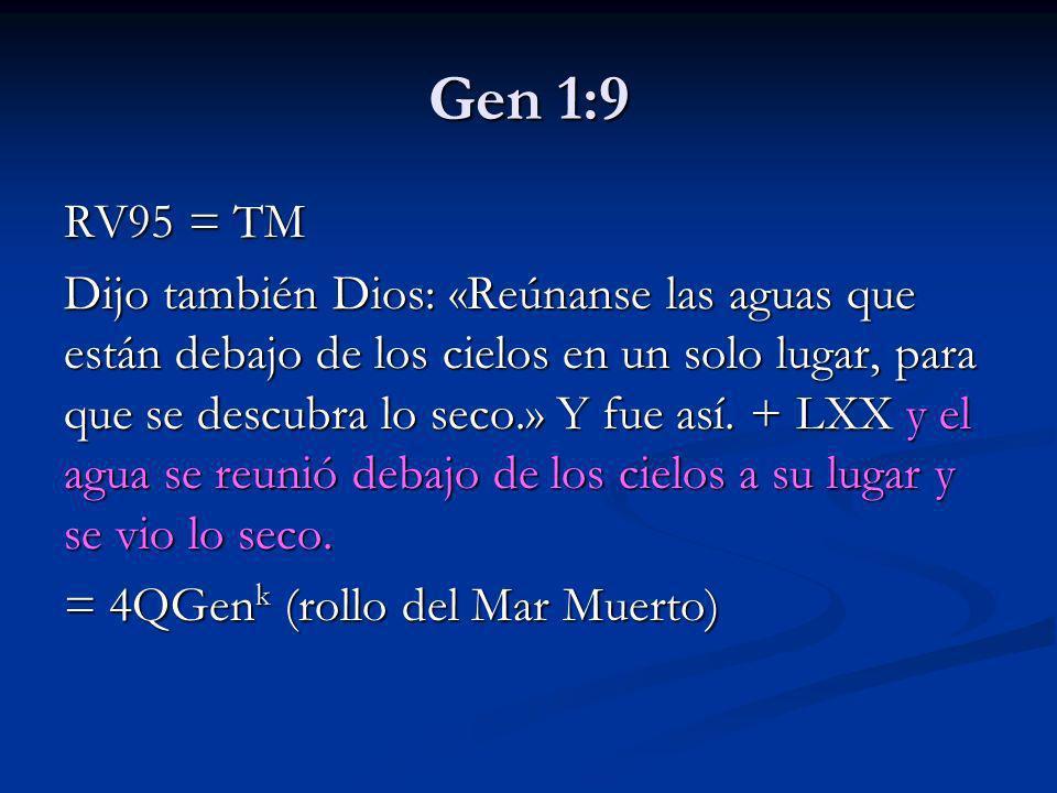 Gen 1:9 RV95 = TM.