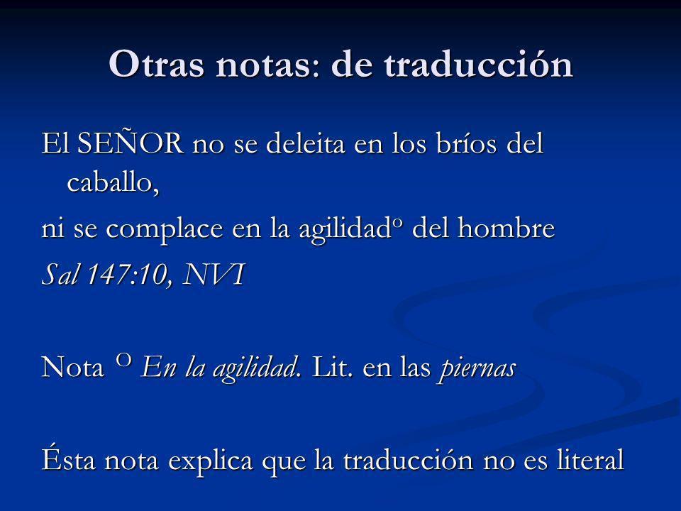 Otras notas: de traducción