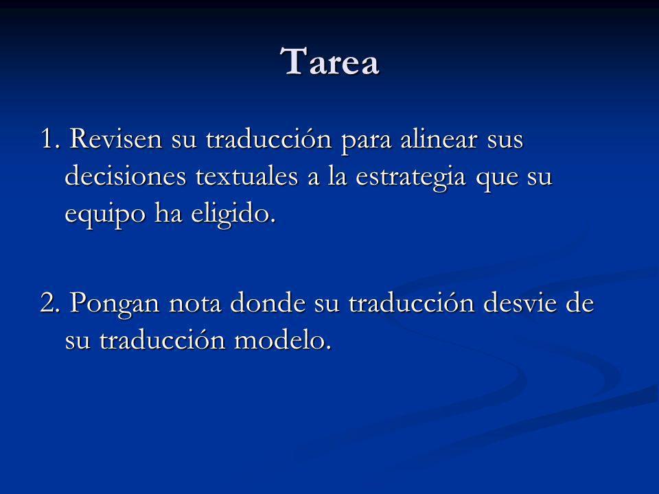 Tarea 1. Revisen su traducción para alinear sus decisiones textuales a la estrategia que su equipo ha eligido.