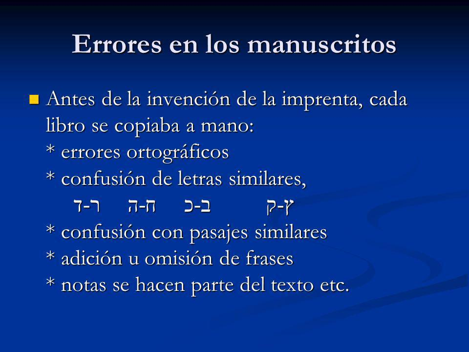 Errores en los manuscritos