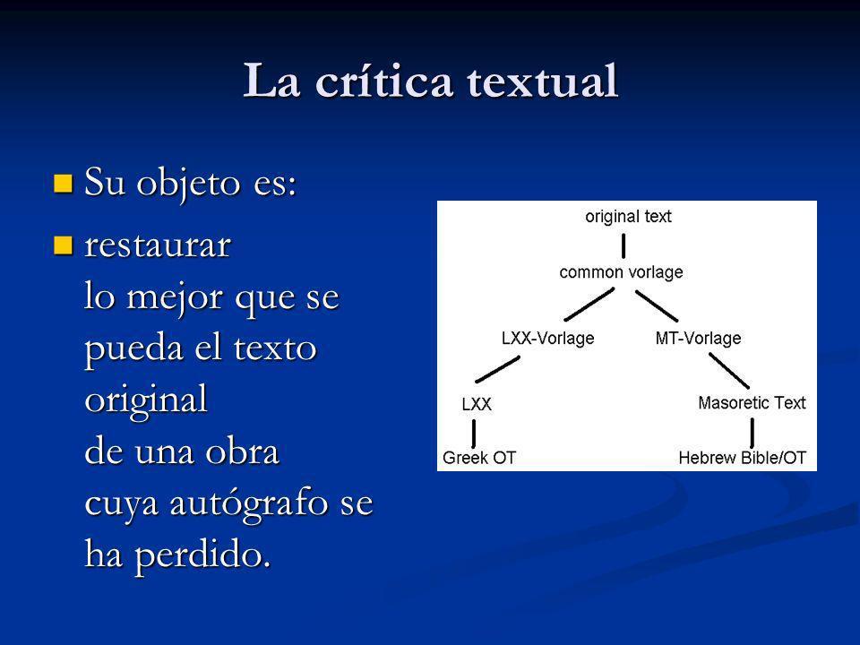 La crítica textual Su objeto es: