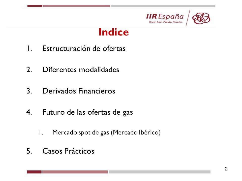 Índice Estructuración de ofertas Diferentes modalidades