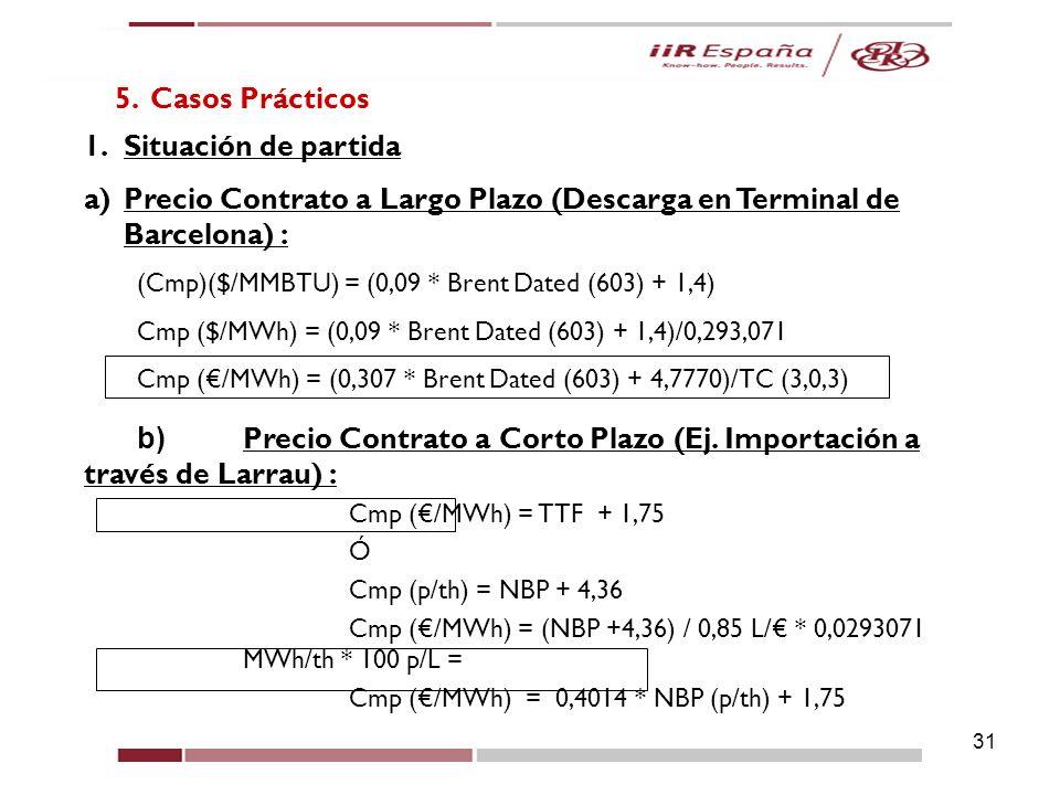 Precio Contrato a Largo Plazo (Descarga en Terminal de Barcelona) :