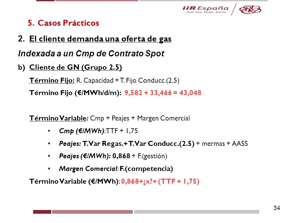 2. El cliente demanda una oferta de gas