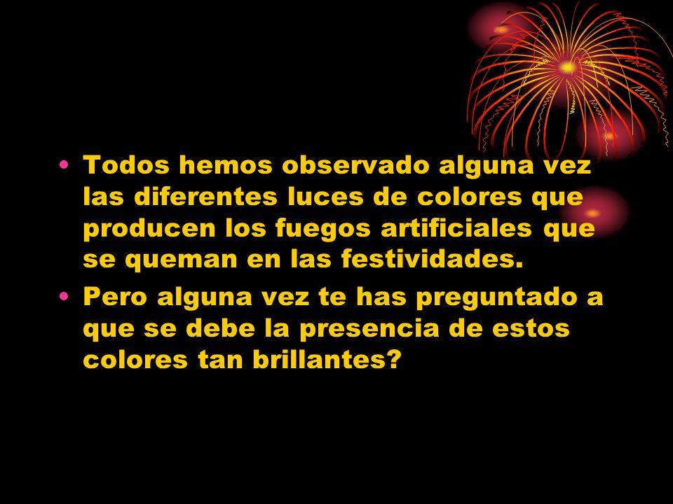 Todos hemos observado alguna vez las diferentes luces de colores que producen los fuegos artificiales que se queman en las festividades.