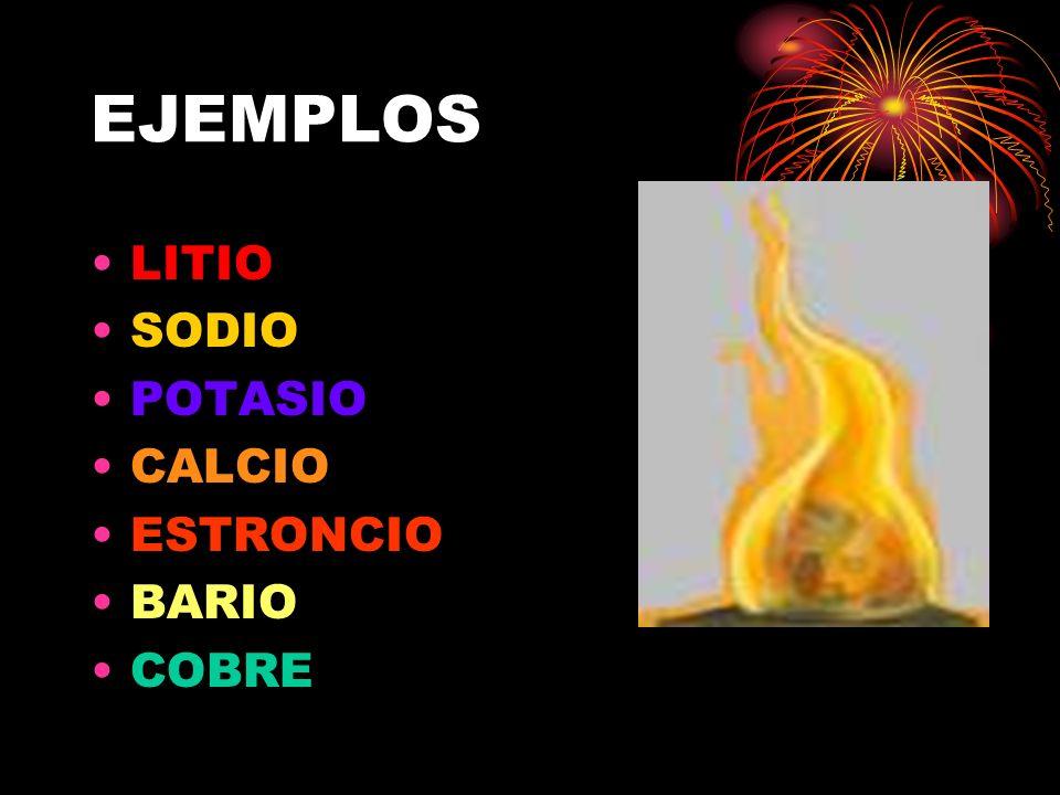 EJEMPLOS LITIO SODIO POTASIO CALCIO ESTRONCIO BARIO COBRE