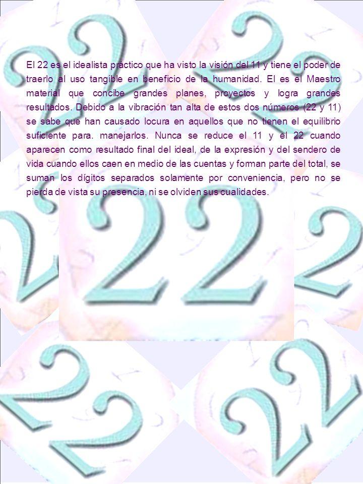 El 22 es el idealista práctico que ha visto la visión del 11 y tiene el poder de traerlo al uso tangible en beneficio de la humanidad.