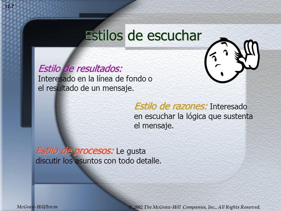 12-7 Estilos de escuchar. Estilo de resultados: Interesado en la línea de fondo o el resultado de un mensaje.